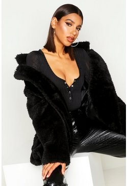 Black Double Breasted Teddy faux Fur Coat
