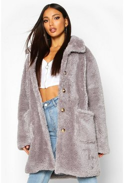 Womens Grey Button Through Teddy Faux Fur Coat