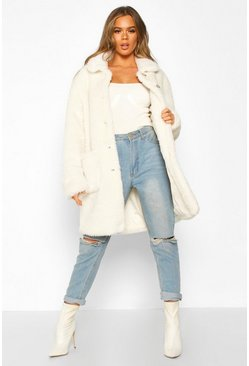 Ivory Button Through Teddy Faux Fur Coat