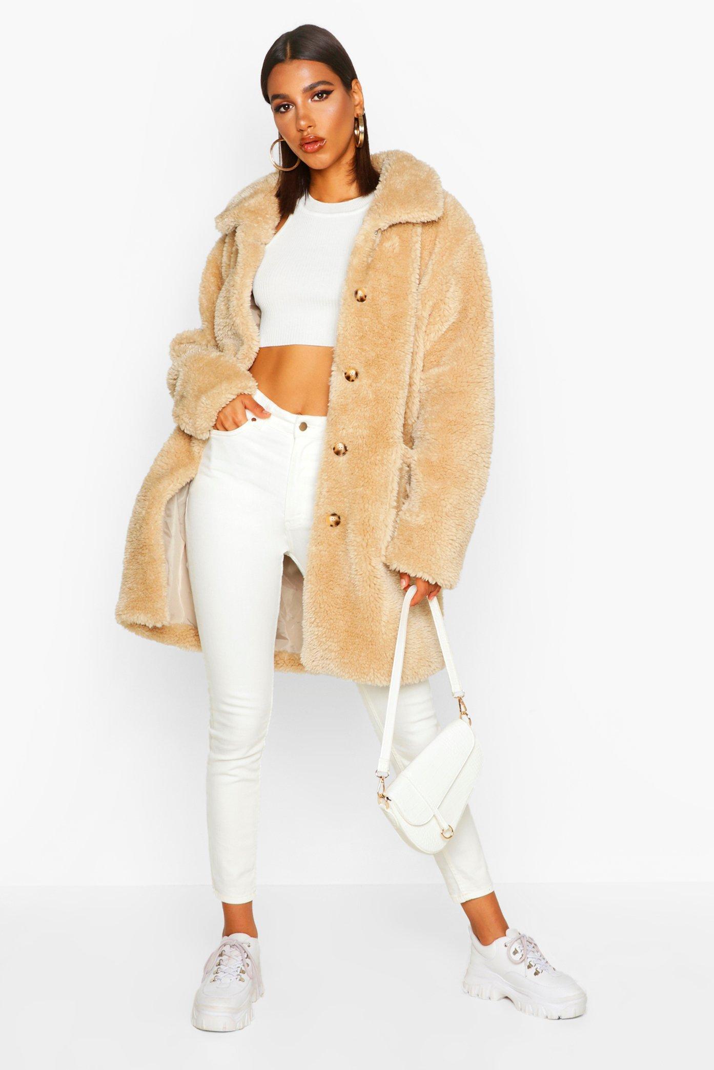 boohoo Womens Button Through Teddy Faux Fur Coat - Beige - 10, Beige