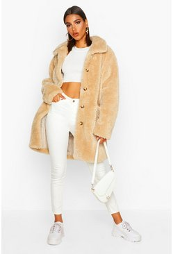 Womens Stone Button Through Teddy Faux Fur Coat