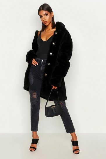 Womens Black Button Through Teddy Faux Fur Coat