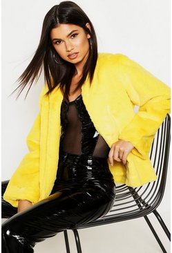 Womens Yellow Collarless Faux Fur Coat