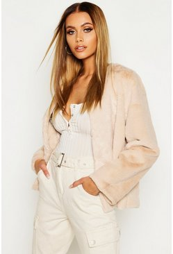 Womens Ecru Collarless Faux Fur Coat