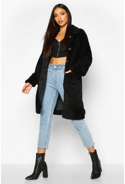Womens Black Button Through Teddy Coat