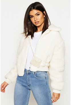 Womens Cream Crop Faux Teddy Fur Bomber Jacket
