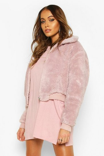 Womens Rose Crop Faux Teddy Fur Bomber Jacket