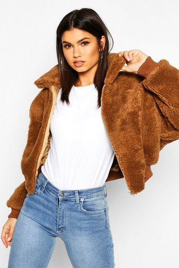 Womens Camel Crop Faux Teddy Fur Bomber Jacket