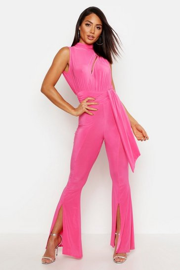 Womens Hot pink Slinky Cut Out Flare Leg Ruched Jumpsuit