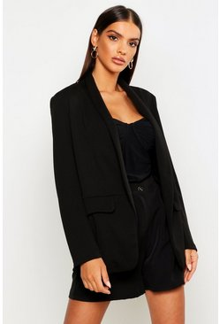 Womens Black Edge To Edge Tailored Blazer