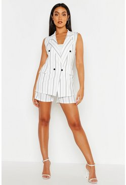 Womens White Sleeveless Stripe Blazer