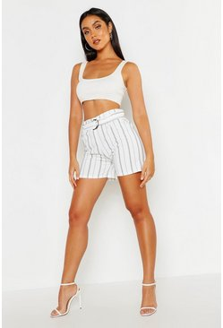 Womens White Stripe Belted Short