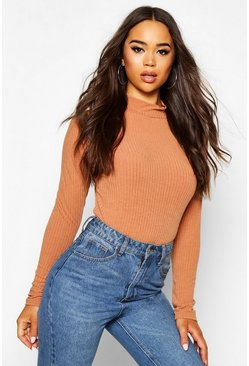 Camel Rib Knit Turtle Neck Jumper