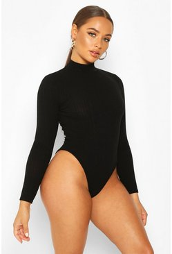 Womens Black Turtle Neck Long Sleeve Knitted Rib Bodysuit