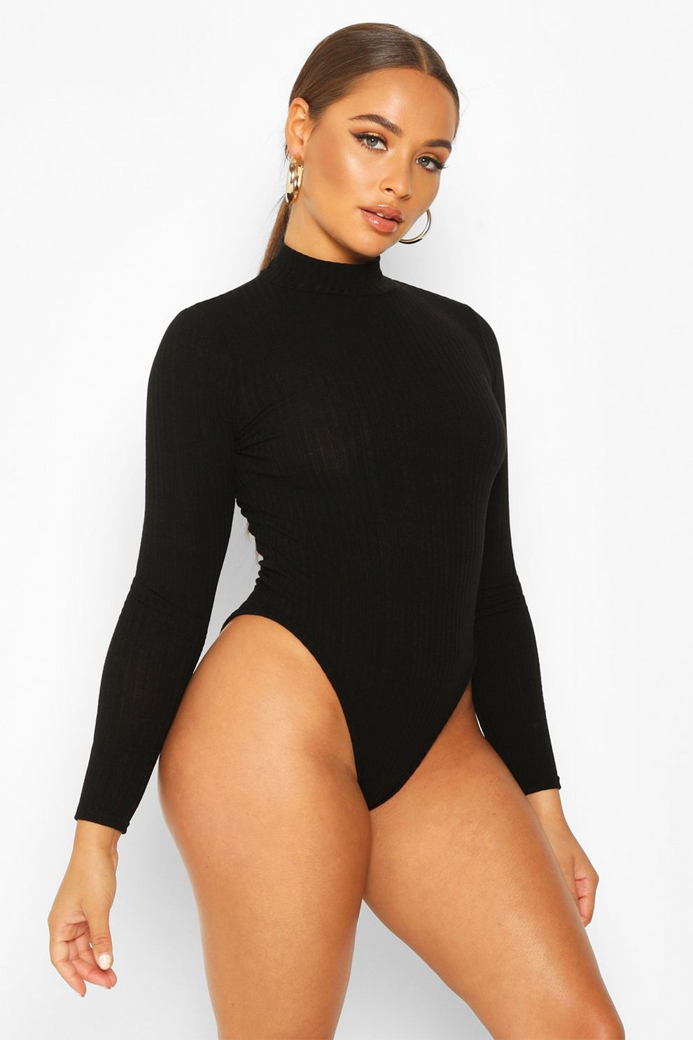 be70699c1 Turtle Neck Long Sleeve Knitted Rib Bodysuit