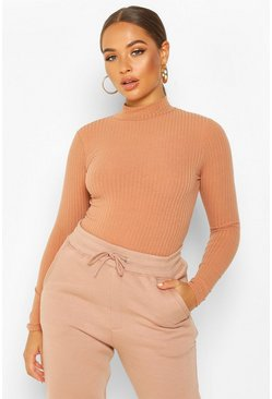 Camel Turtle Neck Long Sleeve Knitted Rib Bodysuit