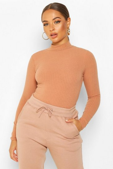 Womens Camel Turtle Neck Long Sleeve Knitted Rib Bodysuit
