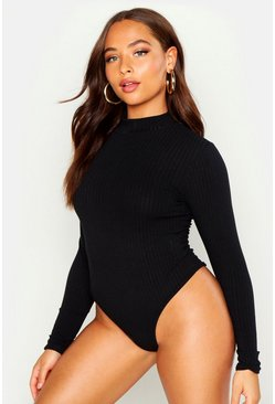 Womens Black Turtle Neck Rib Long Sleeve Thong Bodysuit