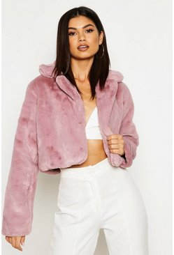 Womens Mauve Crop Collared Faux Fur Coat