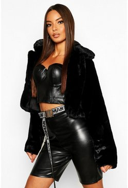 Womens Black Crop Collared Faux Fur Coat