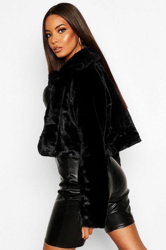 Crop Collared Faux Fur Coat
