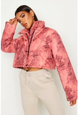 Rust Crop Tie Dye Puffer Jacket