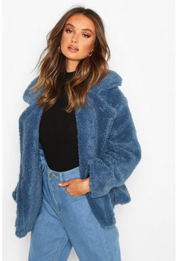 Womens Blue Double Breasted Short Teddy Faux Fur Coat