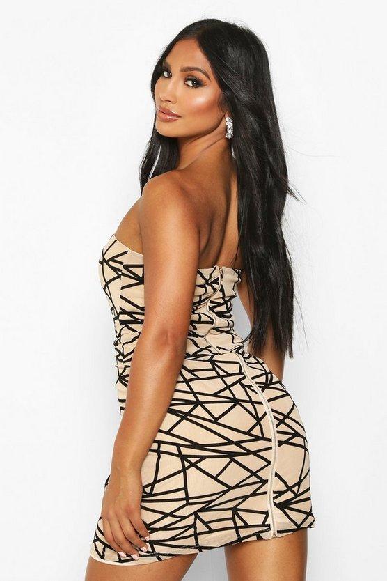 Mesh Bandeau With Flocked Design Midi Dress