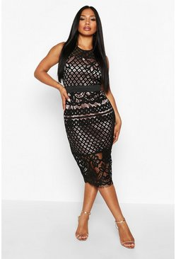 Black All Over Crochet Lace Midi Dress