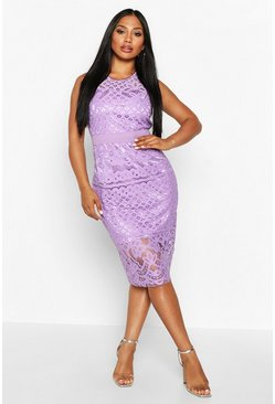 Lilac All Over Crochet Lace Midi Dress