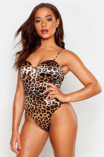 Womens Satin Stretch Leopard Bodysuit