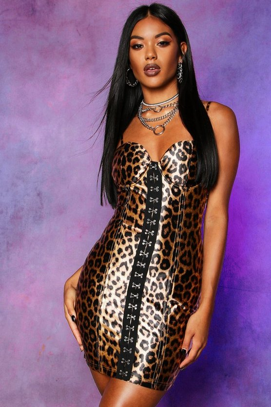 Womens Stretch Satin Leopard Hook & Eye Mini Dress
