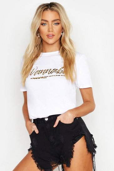 Womens White Wannabe Slogan T-Shirt