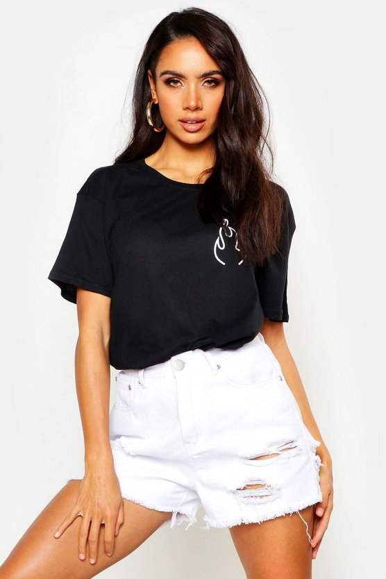 Womens Black Flame Pocket Print T-Shirt