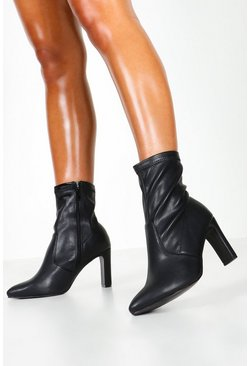 Dam Black Wide Fit Flat Heel Sock Boots