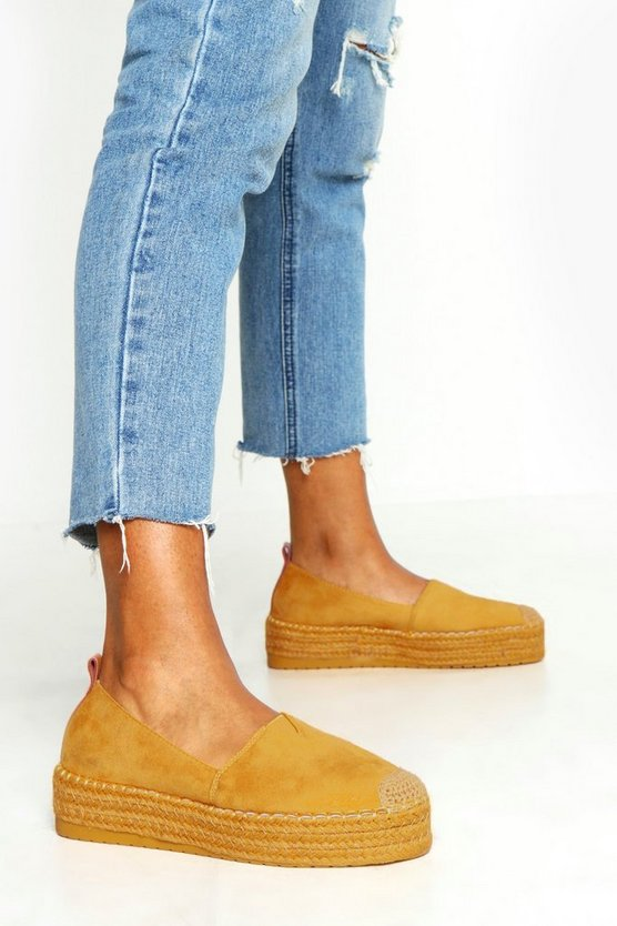 Womens Mustard Loop Back Espadrille Flatforms