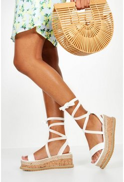 Womens White Flatform Espadrille Tie Up Sandals