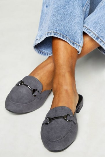 Womens Grey Slip On Mule Flats