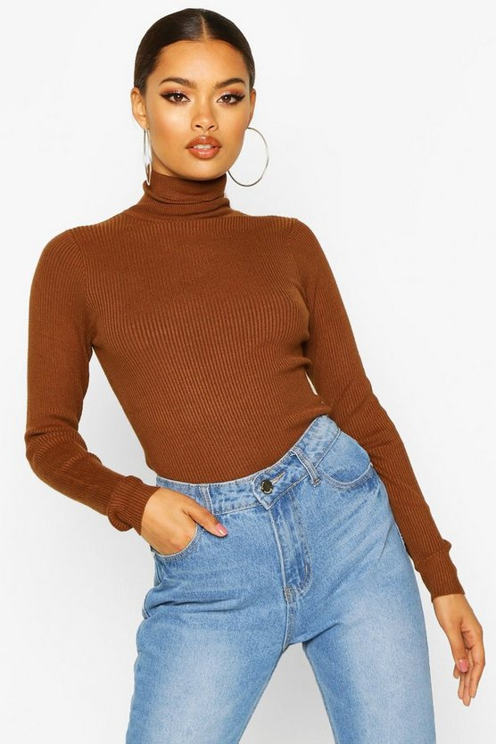 Brown Roll Neck Knitted Jumper