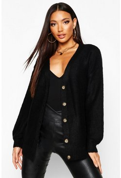 Womens Black Balloon Sleeve Button Through Cardigan