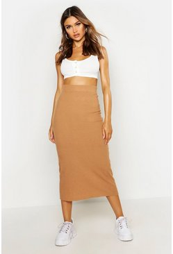 Womens Camel Rib Knitted Midaxi Skirt