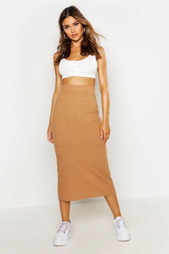 Rib Knitted Midaxi Skirt