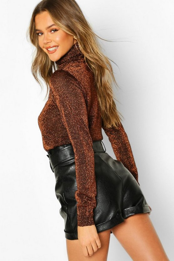 Roll Neck Metallic Knitted Top