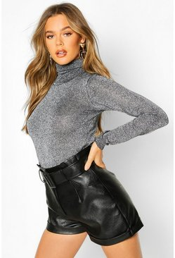 Womens Silver Roll Neck Metallic Knitted Top