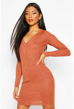 Copper Metallic Knit V Neck Mini Dress