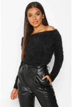 Womens Black Bardot Fluffy Knit Jumper