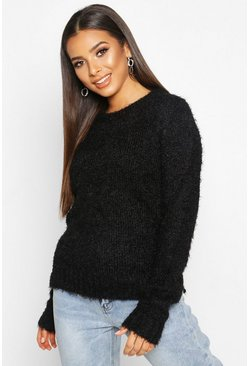 Womens Black Fluffy Knit Split Side Jumper
