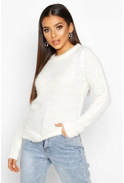 Womens Cream Fluffy Knit Split Side Jumper