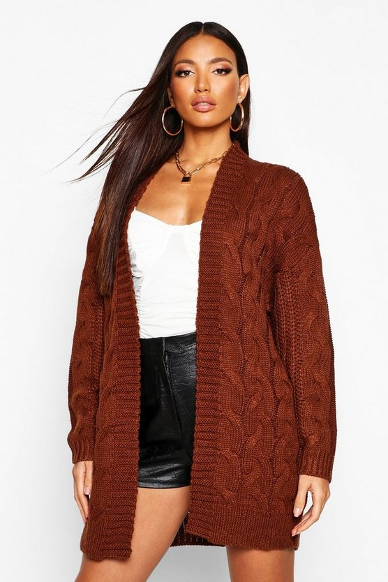 Womens Brown Cable Knit Chunky Longline Cardigan