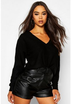 Womens Black Boxy V Neck Jumper